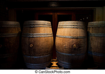 Wine barrels - Barrels of South African wine in a wine...