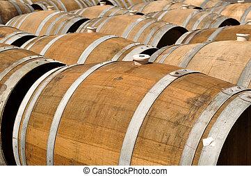 Wine Barrels being stored