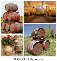 wine barrels collage, images from Italy