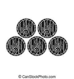 Wine barrels icon in black style isolated on white background. Wine production symbol stock bitmap illustration.