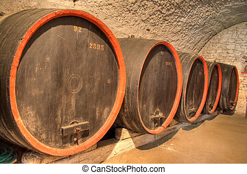 Wine barrels in a fortress wine cellar in Romania.
