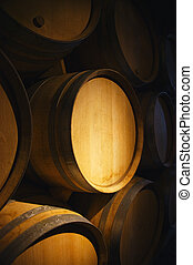 Wine barrels in a old wine cellar