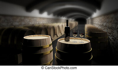 Wine barrels in a wine cellar