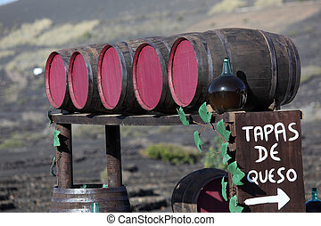 Wine barrels in a winery on Canary Island Lanzarote, Spain