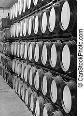 Wine barrels in an aging cellar