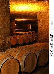 Wine barrels in cellar. Bordeaux Wineyard, France, Europe