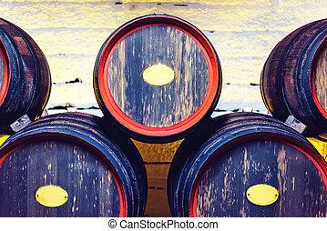 Wine barrels in Moldova - Wooden wine barrels cellar...