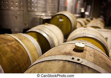 Wine barrels in rows