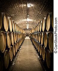Wine barrels in the a wine cellar