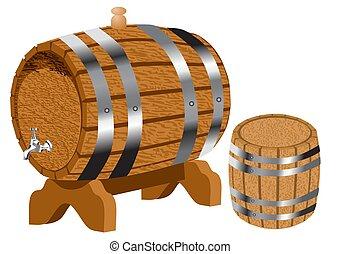 wine barrels on white