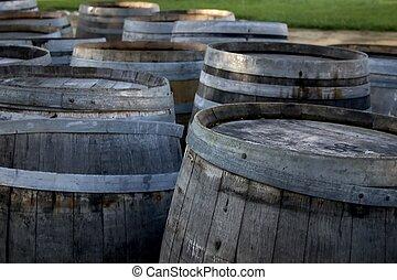 Wine Barrels - Rows of aged wine barrels