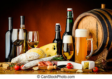 wine, beer and food - still life with wine, beer,...