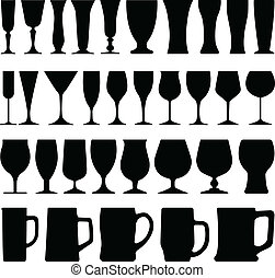 A set of wine beer glass cup in silhouette.