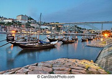 Wine boats on river Douro, Porto, Portugal