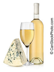 Wine bottle and blue cheese - White wine and blue cheese...