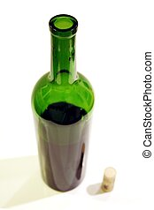 Wine bottle and cork with shallow depth of field