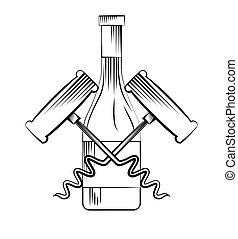 wine bottle and corkscrew