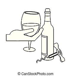 wine bottle and corkscrew utensil icon design