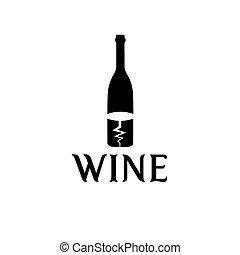 wine bottle and corkscrew vector design template
