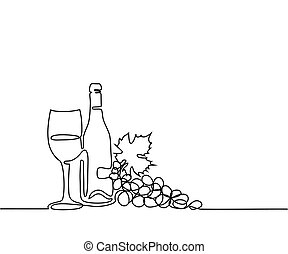 Wine bottle and glass contour. - Continuous line drawing....