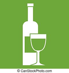 Wine bottle and glass icon green