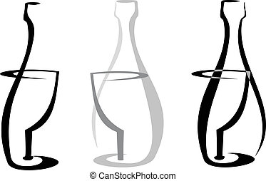 Wine bottle and glass on white - Outline of wine bottle and...