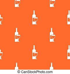 Wine bottle and glass pattern seamless
