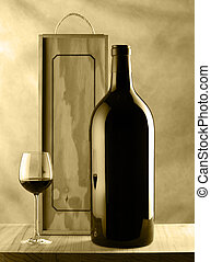 Wine bottle and glass still life
