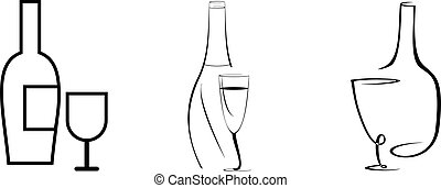 Wine bottle and glass - Stylized vector image - bottle of...