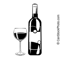 Wine bottle and glass. Vector illustration isolated on white
