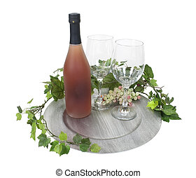 Wine Bottle and Glasses on Silver Charger