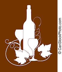 Wine bottle and glasses silhouette with grape leaves.