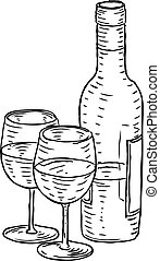 Wine Bottle and Glasses Vintage Retro Style