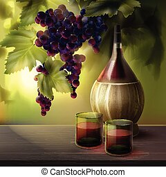 Wine bottle and grapes - Vector bottle of wine with...