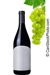 wine bottle and grapes isolated on white background