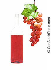 Wine bottle and grapevine