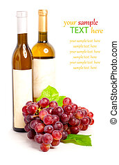 Wine bottle and red  grape with leaf,isolated on white background