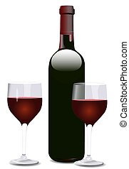 Wine Bottle and Two Glasses - Bordeaux shaped red wine...