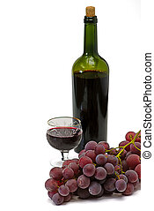 wine bottle and wineglass isolated