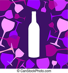 Wine bottle and wineglasses background