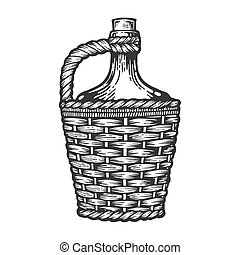 Wine bottle carboy with basket and handle weaving engraving...