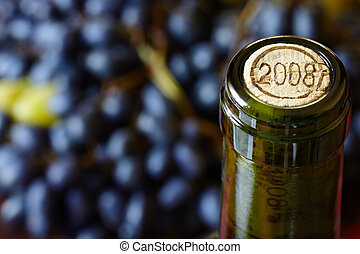 Wine bottle - closeup of wine bottle, selective focus on...