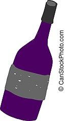 Wine bottle flat, illustration, vector on white background.