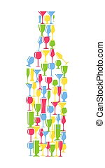 Wine Bottle From Alcoholic Glass Silhouette Vector Illustration
