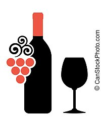 wine bottle, glass and grape silhouette on white background