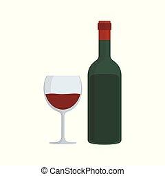 Wine bottle & glass flat design icon