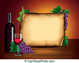 Wine bottle, glass, grapes and blank paper - Wine background...