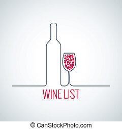 wine bottle glass list menu background