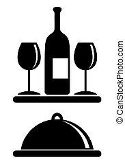 Wine bottle, glasses, serving tray