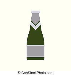 Wine bottle, green glass bottle, flat design icon